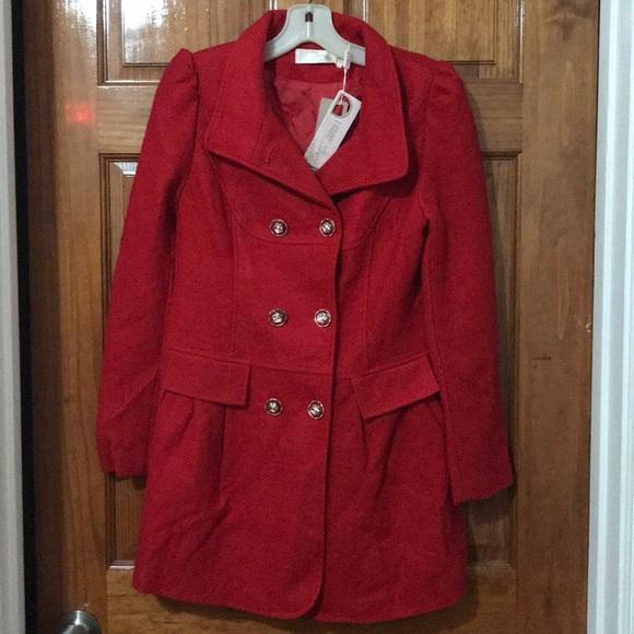 x yiran Jackets & Blazers - RED PEA COAT BNWT